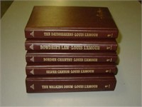 5  Louis Lamour Leather Bound Books