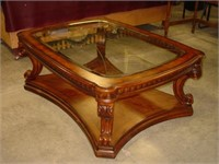 Like New Bevel Edge/ Etched Glass Top Coffee Table