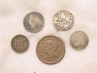 5 Misc US Coins 1836-1912