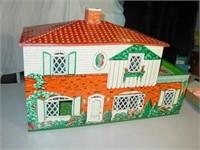 2 Story Tin Dollhouse - T. Cohn + Misc Furniture