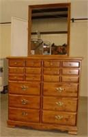 10 Drawer Maple Dresser w/Mirror