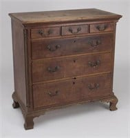 """Important Shenandoah Valley of Virginia Chippendale walnut three-over-three-drawer bureau in a remarkable state of preservation. Attributed to the circle of Gideon Morgan (1751-1830), Staunton, VA. Circa 1790. 39"""" H, 38"""" W, 20 ½"""" D. Estimate: $10,000-15,000. Provenance: Collection of John & Lil Palmer. Descended in a Rockbridge Co., VA family."""