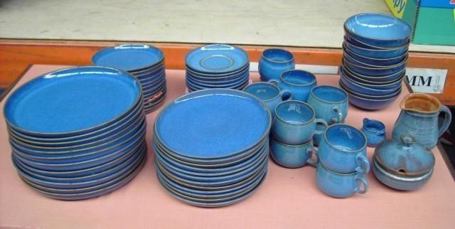 Ultramoderne Kaffe og spisestel af blåt stentøj, 12 pers. 75stk | Nordjysk ZH-98