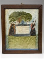 """Important Virginia folk art watercolor memorial for the 1844 explosion of the USS Princeton on the Potomac River at Alexandria, VA, 9 ½"""" x 8"""", in its original string-inlaid cherry frame. A recent discovery in excellent as-found condition."""