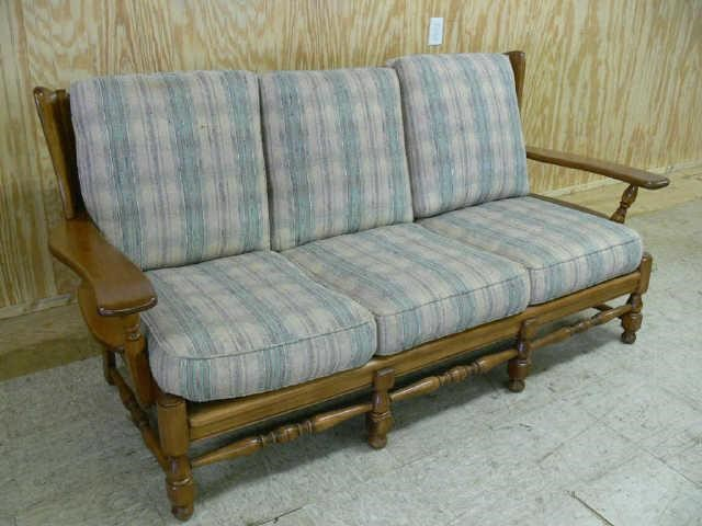Vintage Early American Style Hard Rock Maple Sofa Asset