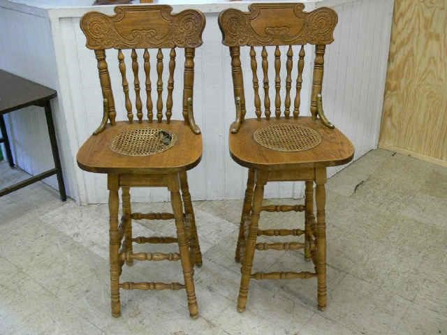 Amazing Pair Of Oak Pressed Back Bar Stools Asset Marketing Pros Machost Co Dining Chair Design Ideas Machostcouk