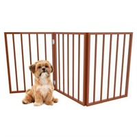 PETMAKER FREESTANDING WOODEN PET GATE - MAHOGANY