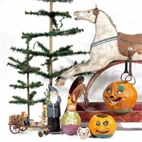 Large selection of antique and vintage toys and decorations, including Holiday