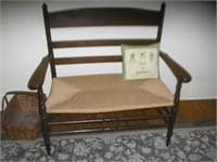 Rush seat slat back bench