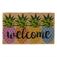 EVERGREEN WELCOME PINEAPPLES PRINTED MAT 16x28''