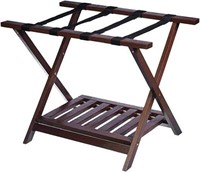 WOODEN FOLDING LUGGAGE RACK STAND WITH SHELF