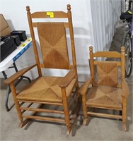 Pair of Wooden Rocking Chairs.  One adult, one