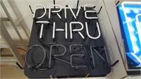 Drive Thru Open Neon Sign