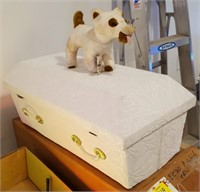 NOS Pet Casket.  Comes with stuffed toy dog.
