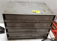 4 Drawer Industrial Bin w/pull out Flats