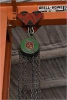 Abell Howe Jib Crane; Rolling trollie, 3ton hoist