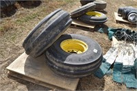 (2) JD Tires & Rims; 11.00-16, 8 hole, firestone