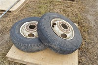 "2 Chev tires & rims, 8 bolt 6 1/2"""
