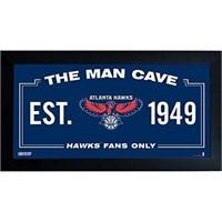 NBA ATLANTA HAWKS MAN CAVE SIGN 6X12' FRAMED PHOTO