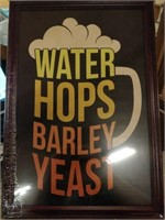 """WATER HOPS BARLEY YEAST WITH FRAME 12""""X18"""""""