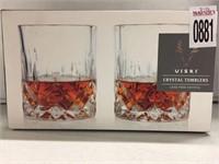 VISKI CRYSTAL TUMBLER ROCKS GLASS 10 OZ