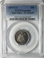 1875-CC 20C Twenty Cent Piece PCGS AU Details