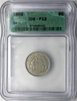 1866 5c Shield Nickel ICG F12