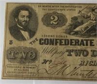 1862 $2 Confederate Note PMG VF25