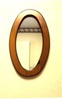 Wood Frame Oval Wall Mirror