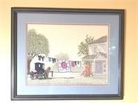 Framed Needlepoint Amish Scene