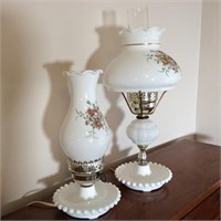 Two Milk Glass Lamps