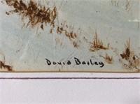 Watercolor Farm Scene, signed David Bailey