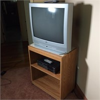 TV, VHS Player and Stand