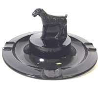 Black Amethyst Glass Ashtray with Dog on Top