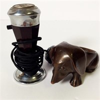 Bronze Dog Pipe Stand, Casco Electric Lighter
