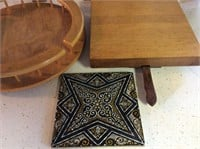 3pc. Lazy Susan, Tile, Cutting Board