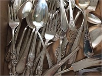 Box Full of Assorted Silver Plate Flatware