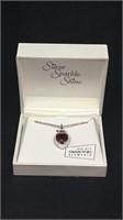 Silver sparkle shine ruby necklace