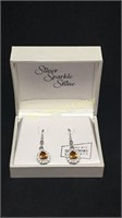 Silver sparkle shine amber earrings