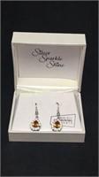 Silver sparkle shine amber earrings