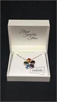 Silver sparkle shine flower pendant necklace