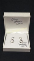 Silver sparkle shine diamond earrings