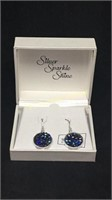 Silver sparkle shine blue circle earrings made