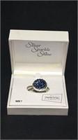 Silver sparkle shine blue ring