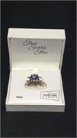 Silver sparkle shine purple and diamond ring