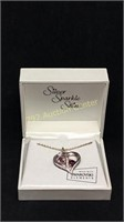 Silver sparkle shine heart pendant necklace