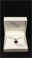 Silver sparkle shine ruby pendant necklace