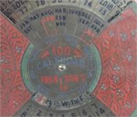 Vintage Metal Spinning 100 Year Calendar 1968-2067