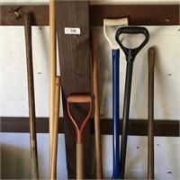 (8) Various Shovels, (1) Hoe