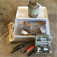 Gas Can, Hydraulic Jack, Rope, Plastic Tote